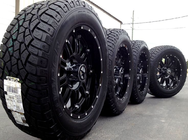 Black truck rims and tires