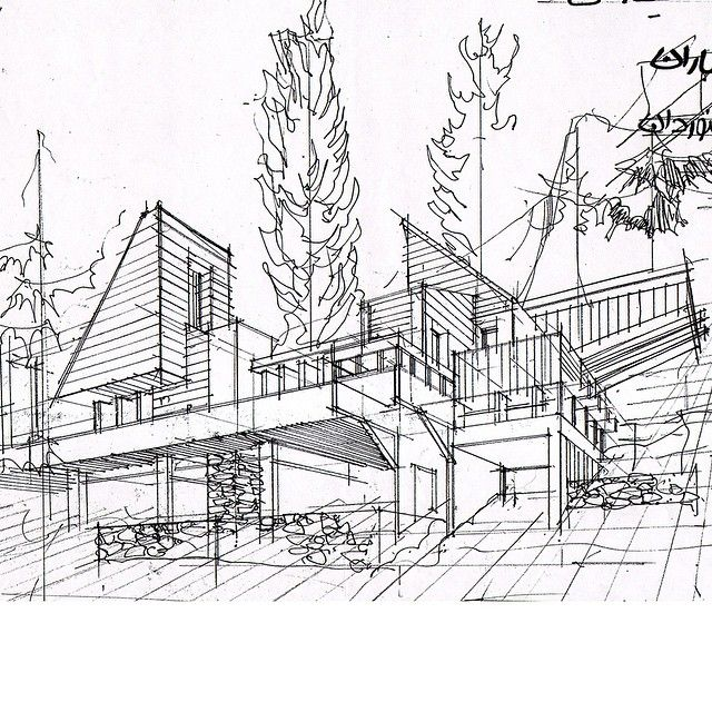 This architectural sketch demonstrates the way in which clean, uniform lines can successfully and clearly communicate the form of a structure (Pinned from architectdrw, Instagram.com)