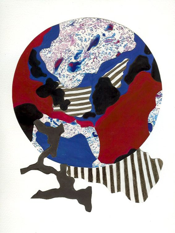 """""""Global comments"""" Margaret Hage, collage of painted papers marbled paper, gauche, pencil on arches paper."""