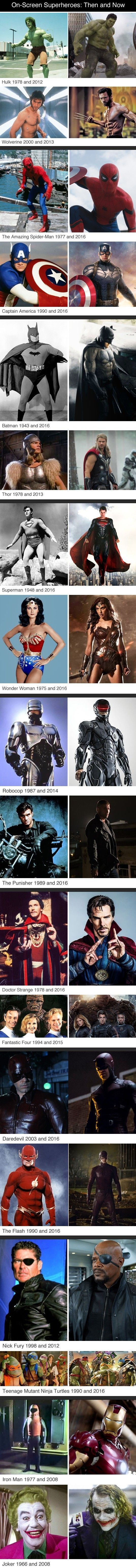 Superheroes Then And Now http://ibeebz.com