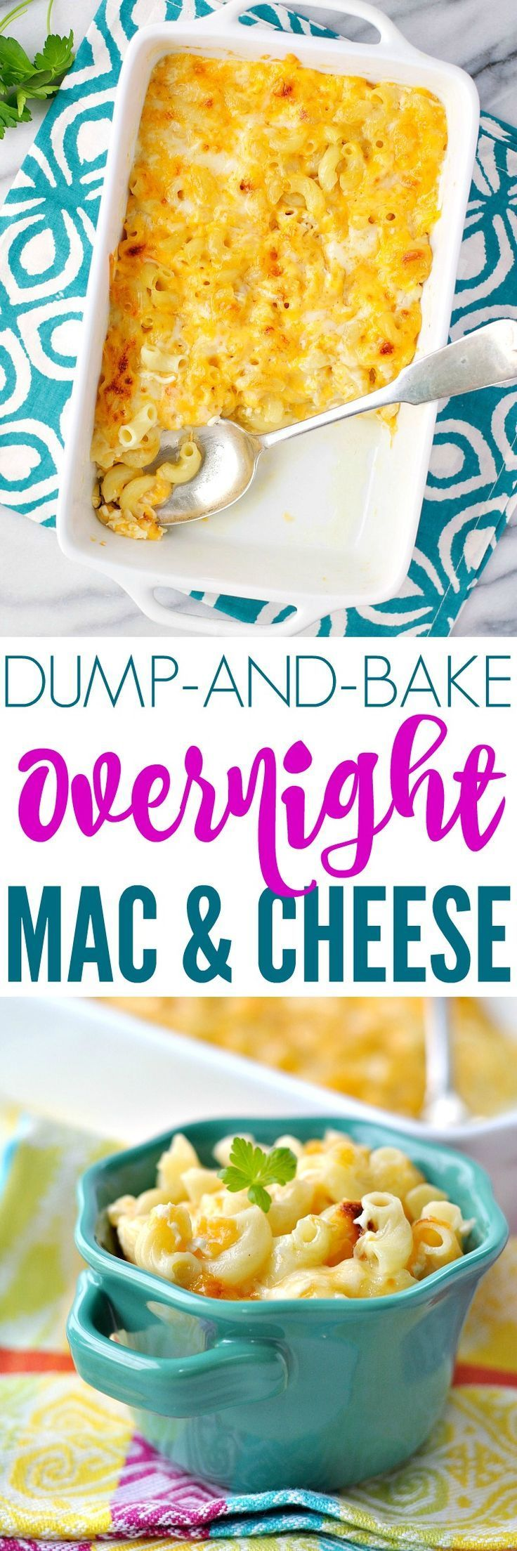 No boiling the pasta for this DUMP-AND-BAKE OVERNIGHT MAC AND CHEESE! Macaroni and Cheese Recipes | Easy Pasta Recipes | Easy Dinner Recipes | Casserole Recipes | Side Dish Recipes | Sides | Side Dishes