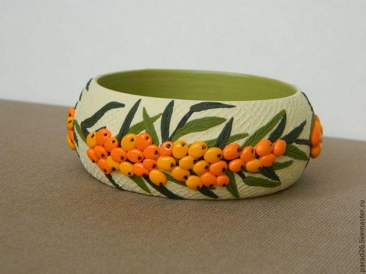 """Браслет """"Облепиха"""" - оранжевый,лето,облепиха,браслет,в единственном экземпляре"""