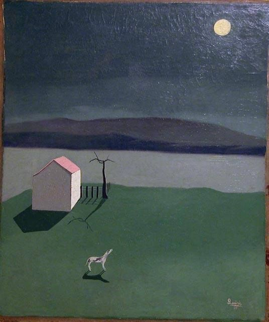 Antonio Quirós (Spanish, 1912 - 1984) Dog barking at the moon (Perro ladrando a la luna), 1935 Oil on canvas