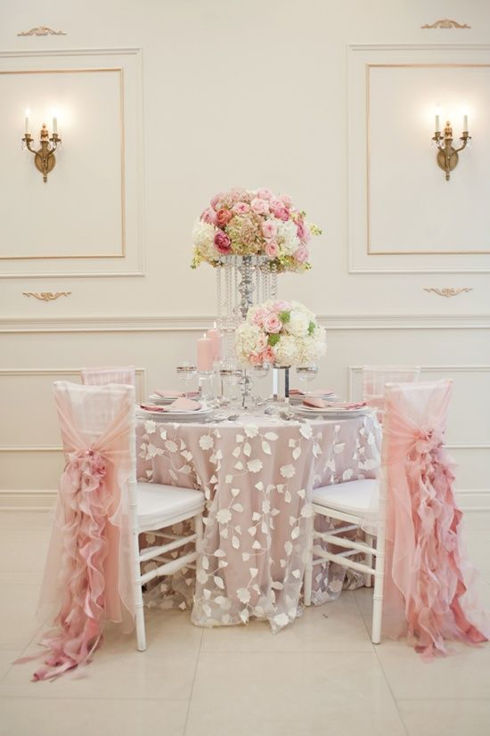 Table for 4 in soft oink and white. Photo Source: Theme Analysis - tumblr #reception #tablesetting #chairdecor