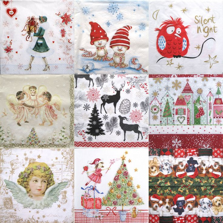 Christmas Decoupage paper napkins, Set of 10 decoupage paper napkins, Christmas fairies, angels, Christmas gifts, puppies, silent night by ArsaiSupplies on Etsy