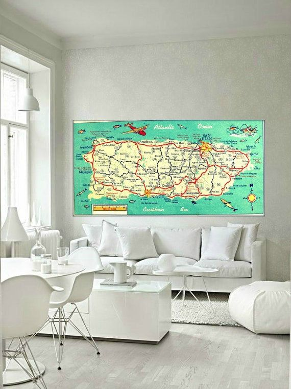 New vibrant 10x20 photo of a vintage map of Puerto Rico featuring a cool plane and jumping retro fish, map is altered and embellished with great