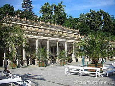 Mlynska kolonada (Mill colonnade) of mineral springs in Karlovy Vary, Czech Republic.