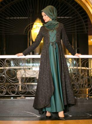 Kaftan Evening Dress - Green - Dersaadet
