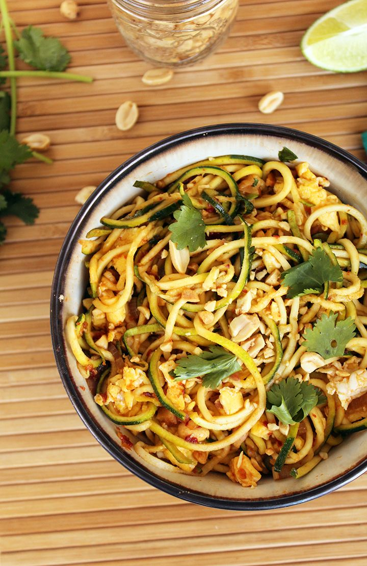 Vegetarian Zucchini Noodle Pad Thai/////////////////////// Wow, so good. I made my own coconut flour. ~KP 2/1/16