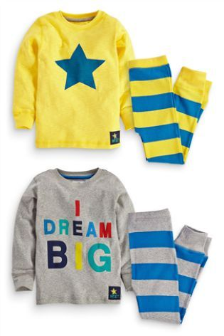 Buy Two Pack Yellow Star Snuggle Pyjamas (9mths-8yrs) from the Next UK online shop