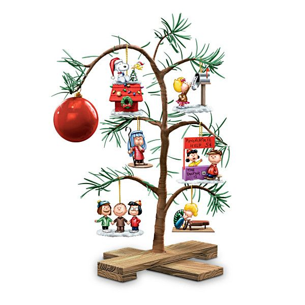 Classic Charlie Brown Christmas Tree features ornaments with all the Peanuts gang.