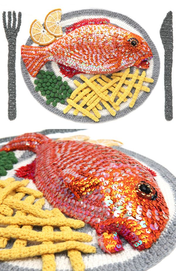 Inspiration; Kate Jenkins - UK artist; knit and crochet; Food  Check it out - amazing ~~