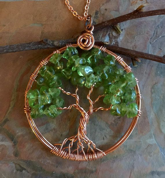 Peridot Tree of Life Necklace in Natural CopperWire by SunVDesigns