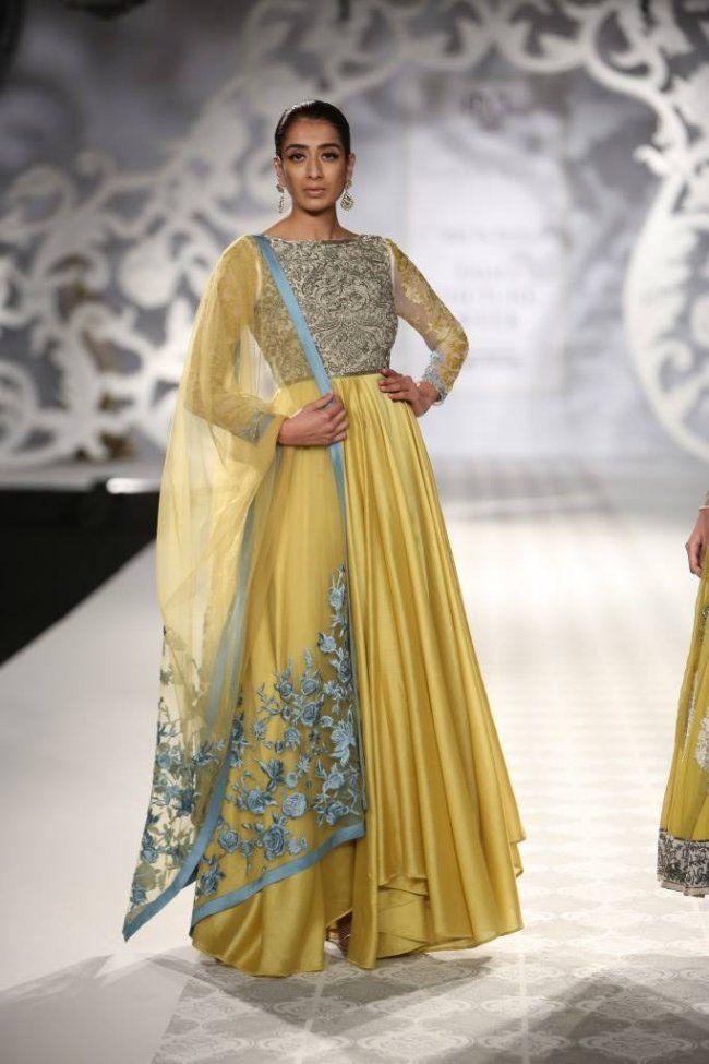 Varun Bahl at India Couture Week - yellow anarkali