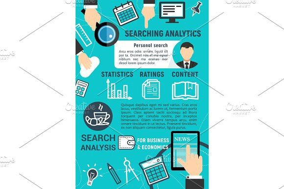 Searching analytics digital technology vector