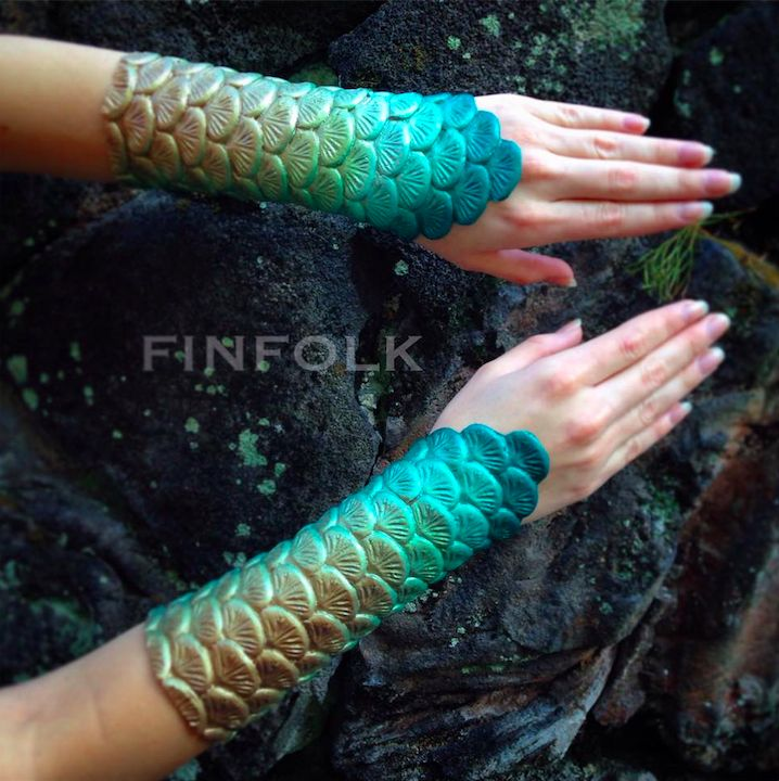 Finfolk Productions mermaid scale bracers!  Not as many mers have scale bracers, but they are a fun addition to your mer look.