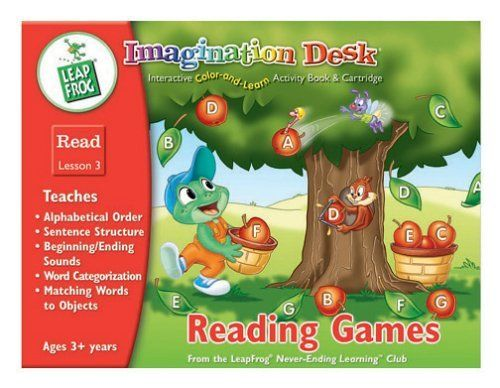 Imagination Desk: Reading Games Interactive Color-And-Learn Activity Book and Cartridge by Leapfrog. $12.97. In addition to providing good old-fashioned coloring fun, this interactive coloring book from LeapFrog introduces kids to over 14 pre-reading concepts. Teaches alphabetical order, sentence structure, beginning and ending sounds, word categorization and sight words. You can easily print replacement sheets from the LeapFrog website. Works with the Imagination Desk by LeapPa...