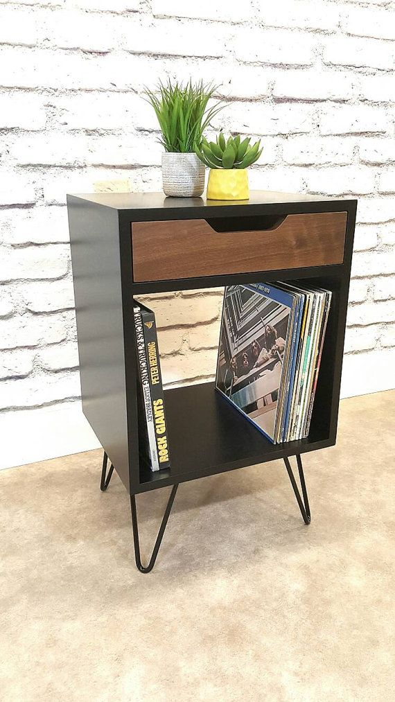 Record Console Black End Table Bedside Table Black
