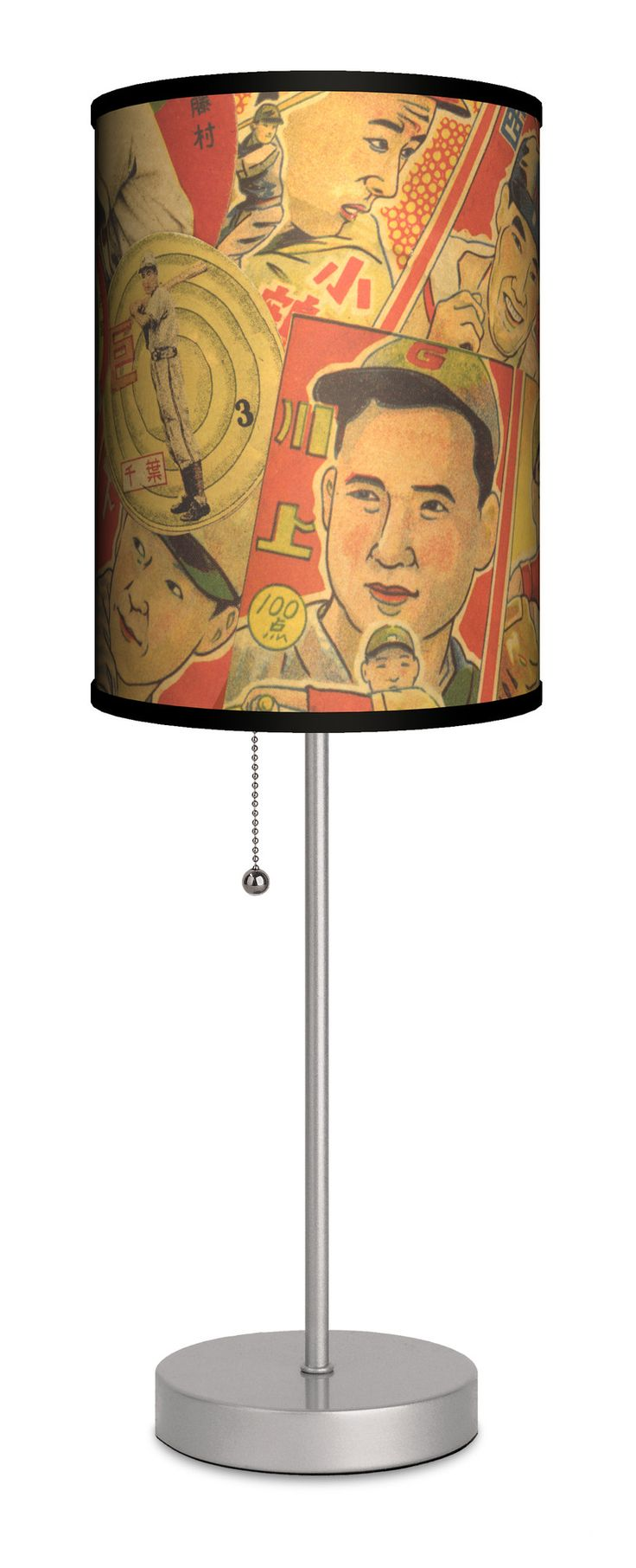 "Sports Japanese Baseball 20"" H Table Lamp with Drum Shade"