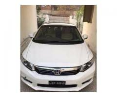 Honda Civic White Color Model 2014 Single Hand Used New Tyre Sale In Faisalabad