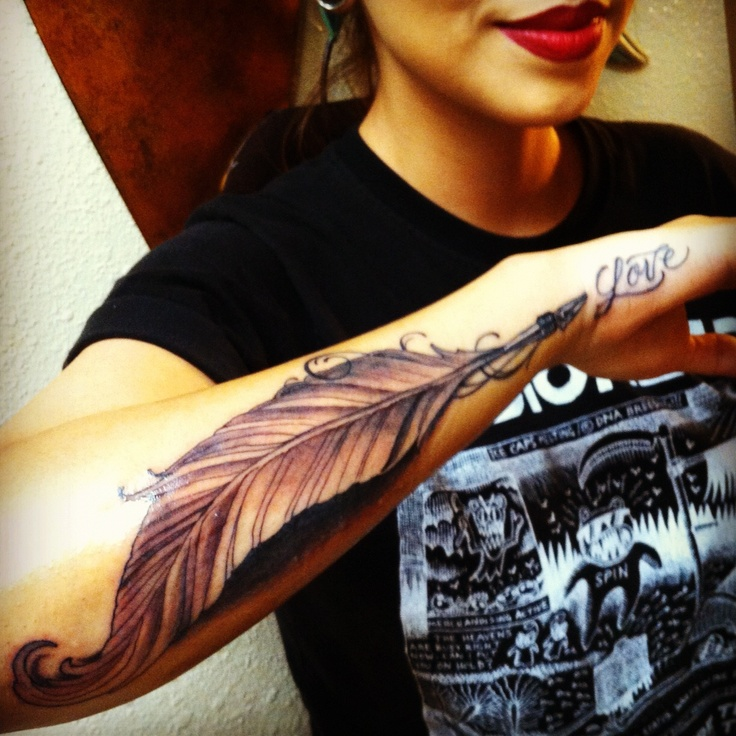 Quill tattoo ending In the word Love on the side of my palm :)