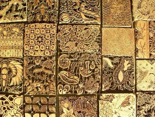 Batik printing blocks; Java, Indonesia; circa 1900; metal alloy, wood