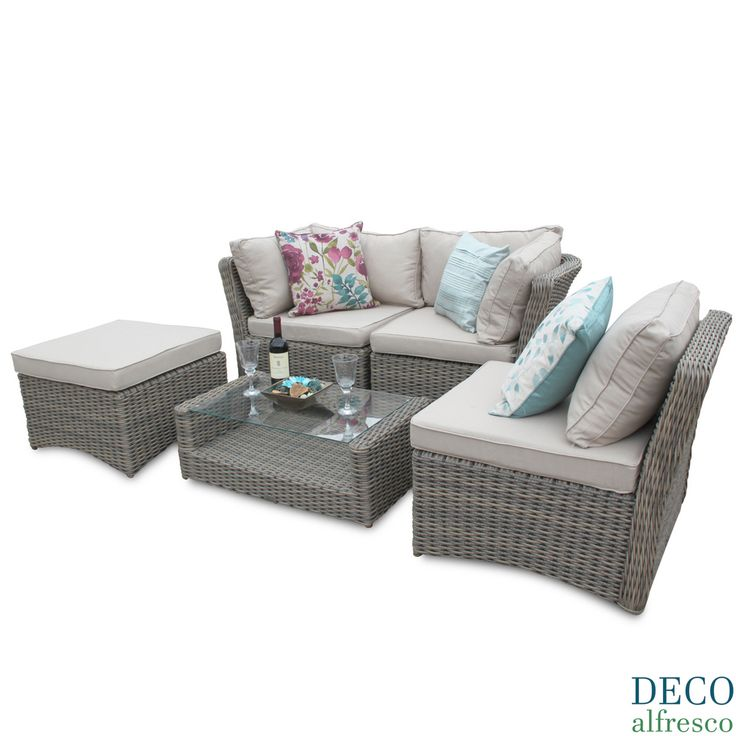 Deco Alfresco London Luxury Tri Weave Corner Sofa Rattan Garden Furniture  Set   Discount Rattan