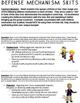 I cover defense mechanisms while talking about psychoanalytic theory in my AP Psychology and Psychology classes.  Kids really love this topic as they can easily identify examples from their own life as we discuss them.For this activity, students are put into groups of three or four and assigned one of the defense mechanisms covered (projection, repression, regression, sublimation, rationalization, denial, reaction formation, and displacement).