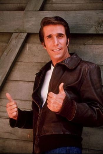 "Henry Winkler (as Arthur Herbert Fonzarelli aka ""The Fonz"" or ""Fonzie"" in 1970's TV show, ""Happy Days"" aay!"