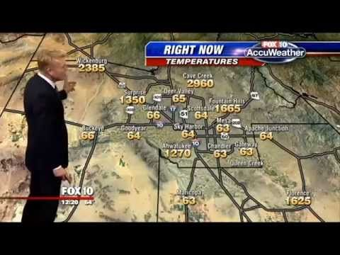 VIDEO (1:04) Weather Map Malfunctions (2960 degrees?!) The weatherman handles it like an Improv Comic. (And he looks great in that suit. st)