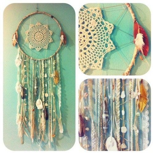 Beautiful, boho chic dreamcatcher. Metal ring, fabric to wrap around it, a lace doily, and braids, beads to hang down. Tie seashells, charms, etc on the braids, beads to complete the look!