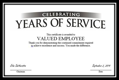 """Certificate to """"Valued Employee?"""""""
