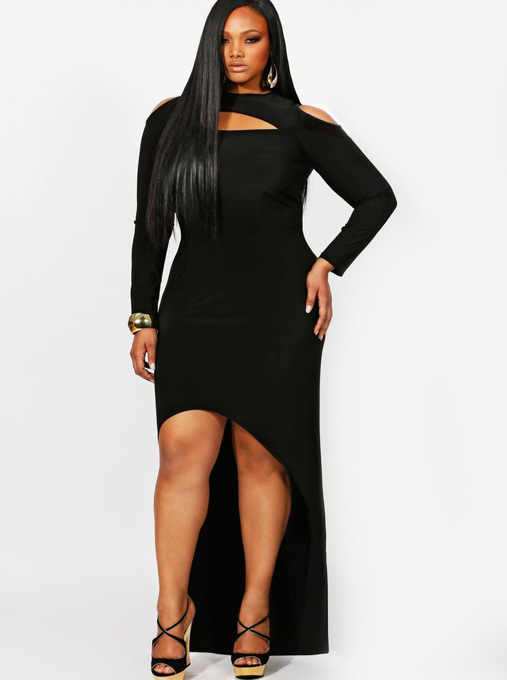"""DANA"" EXPOSED SHOULDER HIGH/LOW DRESS-BLACK | Monif C"