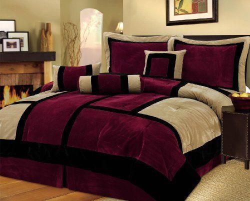 Burgundy And Black Velvet Comforter Bed Set
