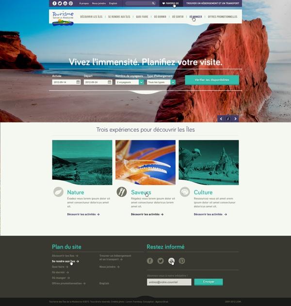 Magdalen Islands - website by Fabien Laborie, via Behance