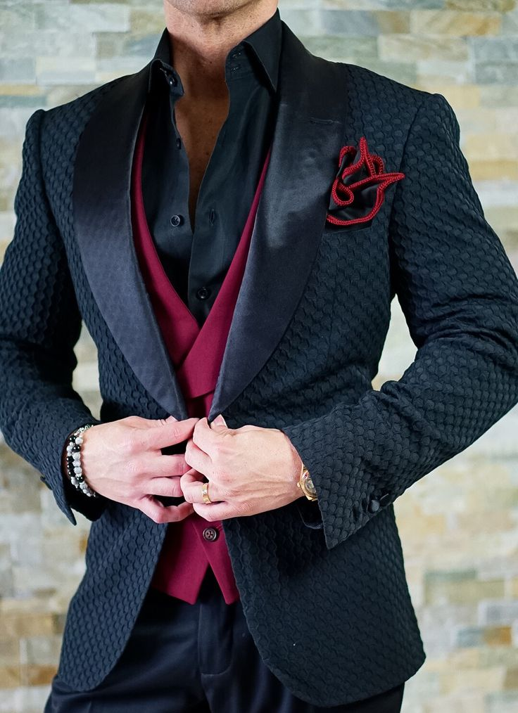 Our Latest Zibellino HoneyComb Dinner Jacket with a splash of color. Lets build a look today! Be Bold.