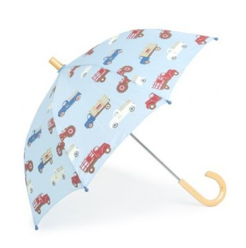 KIDS:  Hatley Farm Trucks Kids Umbrella  Kids sized umbrella with fun all-over print. Features curved wood handle and ferrule, steel shaft and frame with rounded plastic safety tips . Manual opening and closing with pinch-proof runner.    CAD $20.00    http://www.raindropsto.com/umbrellas/kids-umbrellas/hatley-farm-trucks-kids-umbrella