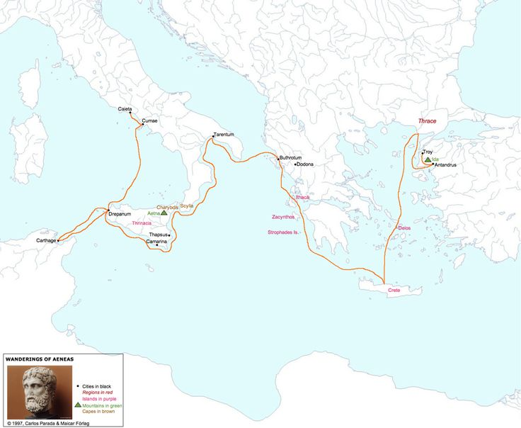 "Le voyage d'Énée tel que décrit par Virgile - in ""40 maps that explain the Roman Empire"" - Vox"