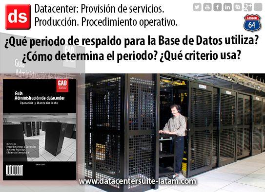 Datacentersuite, Datacenter ¿Que periodo de respaldo para la base de datos utiliza?¿ Que criterio usa?