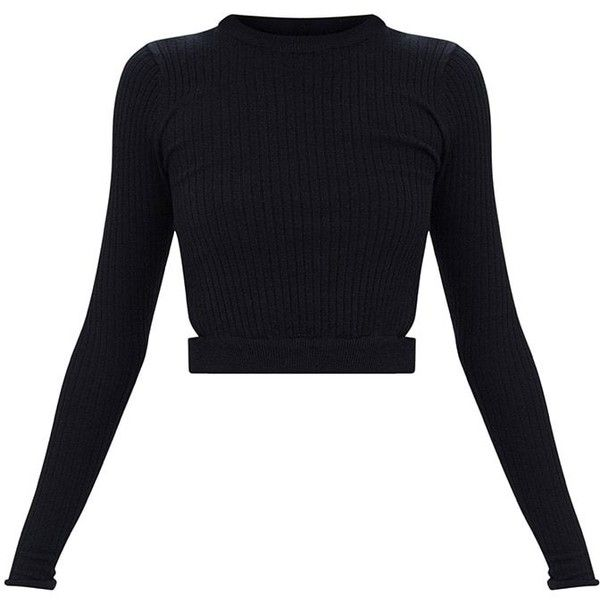 Black Fine Ribbed Cropped Cut out Jumper (£18) ❤ liked on Polyvore featuring tops, sweaters, jumper crop top, crop top, cropped sweaters, jumpers sweaters and jumper top