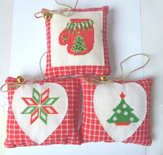 Christmas decor Set of 3 christmas by CrossStitchElizabeth on Etsy