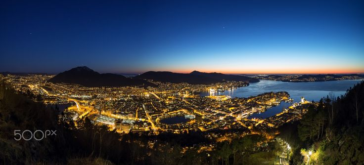 Bergen Blue Hour - The city of Bergen, Norway in the blue hour.