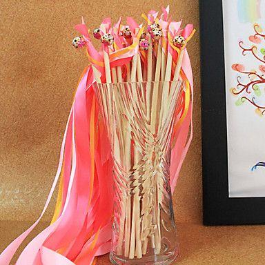 Leuk voor de foto zijn er in meerdere kleuren. roze+huwelijk+lint+toverstaf+-+(set+van+10)+–+EUR+€+5.48