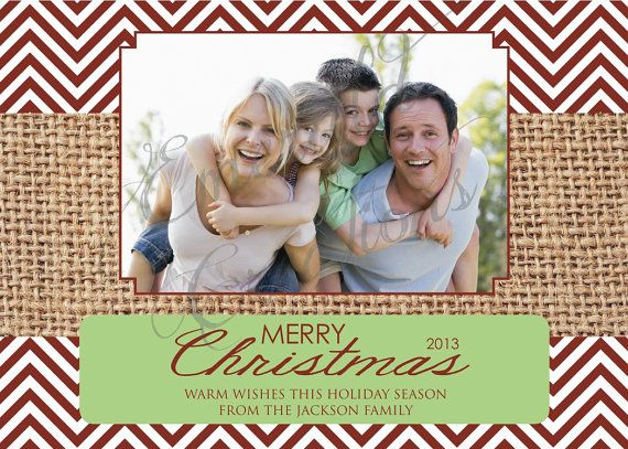 Red Chevron Photo Christmas Card / Custom by EmeraldCustomDesigns