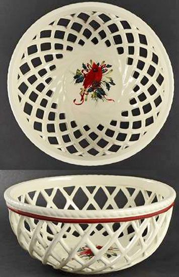 NEW Lenox Winter Greetings Cardinal Open Weave Bread Basket $80 FIRST QUALITY  | eBay