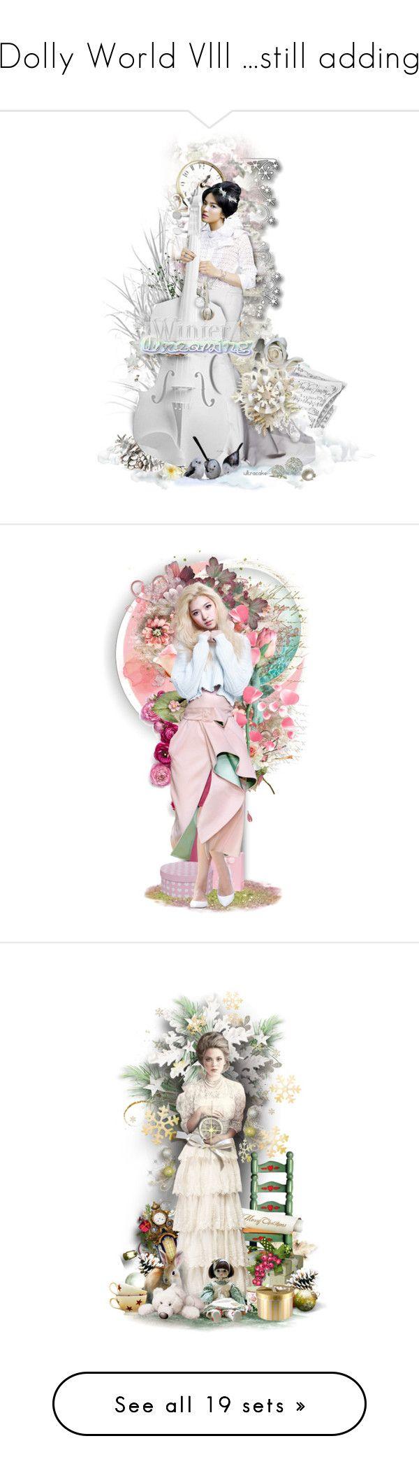 """Dolly World Vlll ...still adding"" by lovetodrinktea ❤ liked on Polyvore featuring art, Winter, Christmas, white, dolls, ultracake, satinee, bhldn, OriginalCharactersSeasonOne and BotOCs1"