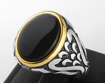 Anillo de plata esterlina del Onyx ónice anillo de por ATAjewels
