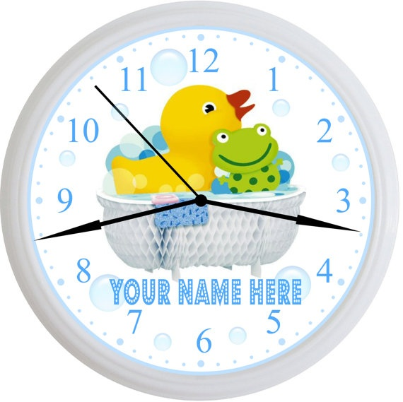 Personalized Kids Yellow Duck And Green Frog in Tub Bathroom Wall Clock Available For Girl Or Boy. By Simply Southern Gift, $18.00