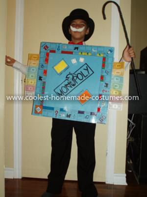 Coolest Monopoly Board Game Costume: Well, last year I made an Ipod for my son. It ended being a real working Ipod if you will with music and a back-lit screen. He and everyone else thought