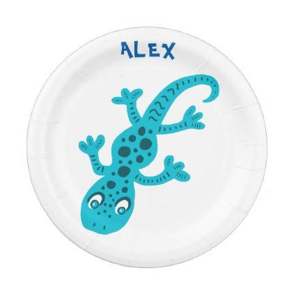 Cute Blue Lizard Gecko Birthday Name Paper Plate - kitchen gifts diy ideas decor special unique individual customized